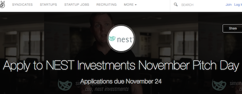 Pitch for Up to US$200k Funding from NEST, Deadline Nov 29th